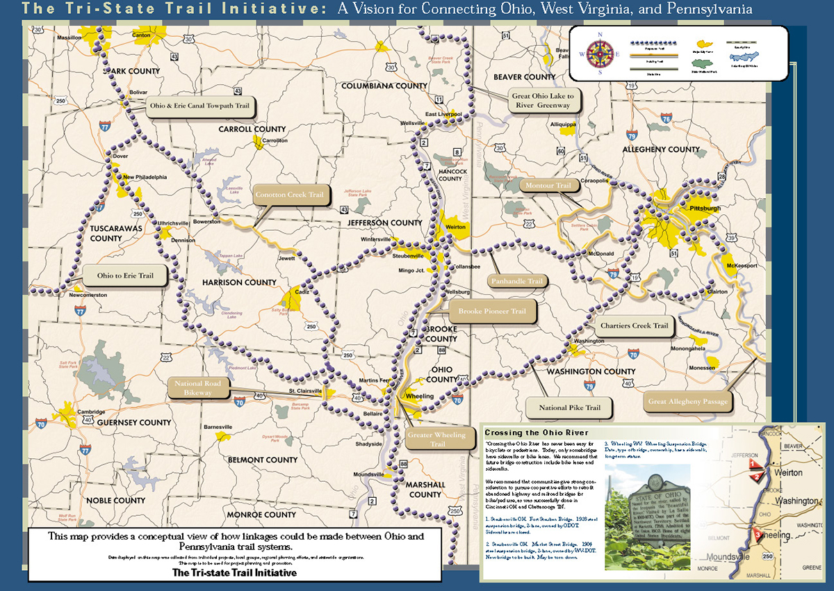 Map Of Ohio West Virginia And Pennsylvania.Tri State Trail Initiative