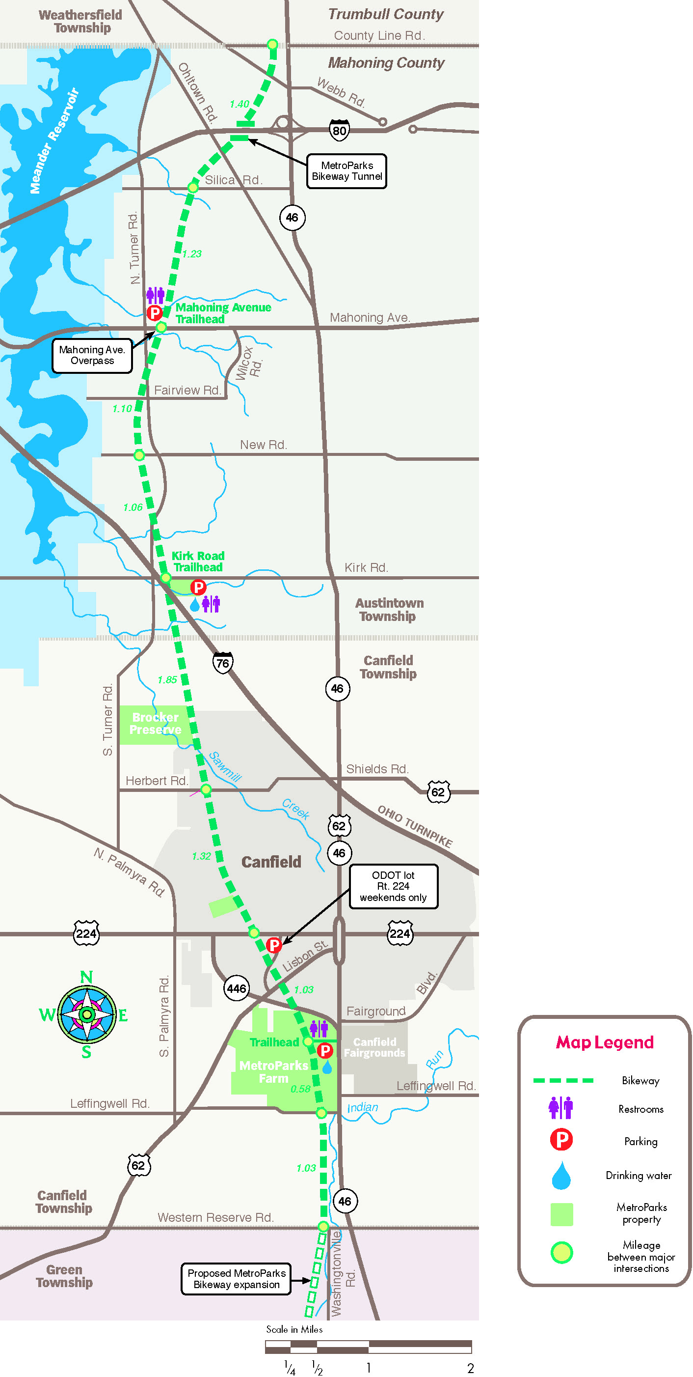 Bike Trails In Ohio Map.Mill Creek Metroparks Bikeway Canfield Township Ohio To